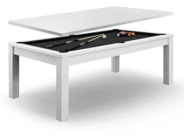 Dining Pool Table White Frame Black Felt