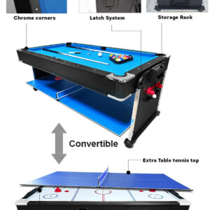 7FT 3-IN-1 Convertible Air Hockey Pool Table