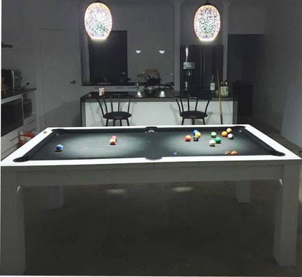 7ft Dining Pool Table White Frame With Black Felt