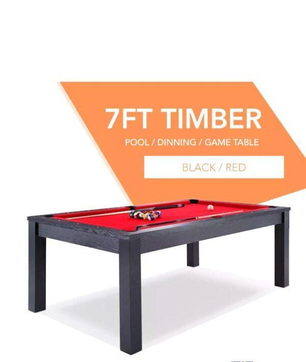 Black Frame Red Felt Dining Pool Table