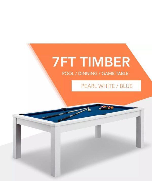 7ft Dining Pool Table White Frame Blue Felt