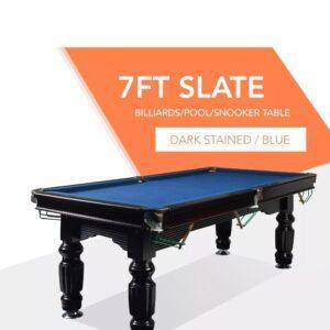 7ft Slate Pool Table Blue Felt