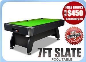 7ft Slate Pool Table Green