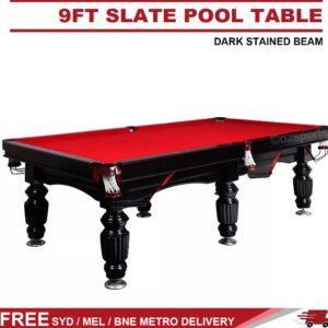 9FT Slate Pool Table Red Fel