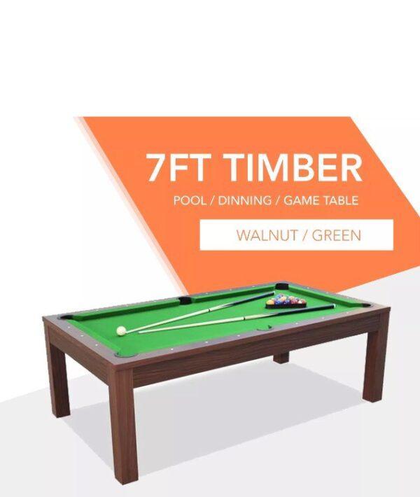 Dining Pool Table Walnut Frame Green Felt