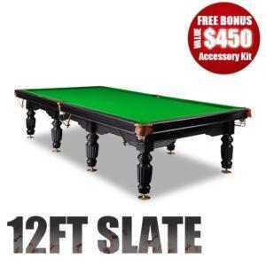 12Ft Slate Pool Table Luxury Green