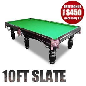 10Ft Slate Pool Table Luxury Green