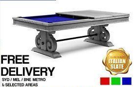 8Ft Luxury Slate Billiards Snooker Table & Dining Top Silver Mist