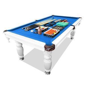 Slate Pool Table White Frame Blue Felt