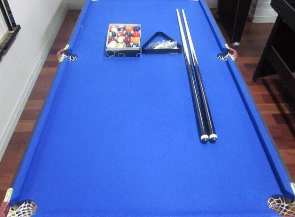 6ft Foldable Pool Table Blue Felt