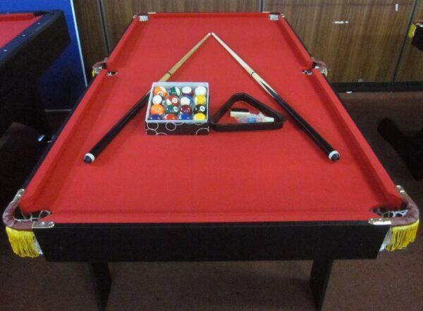 6ft Foldable Pool Table Red Felt