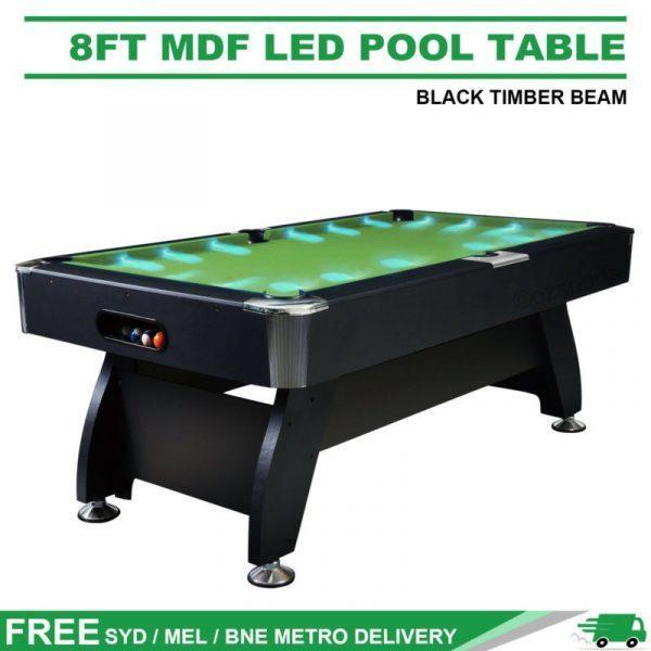 8Ft LED Pool Table Green Felt
