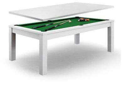 Dining Pool Table With Green Felt White Frame