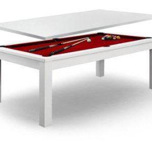 Dining Pool Table With Red Felt White Frame