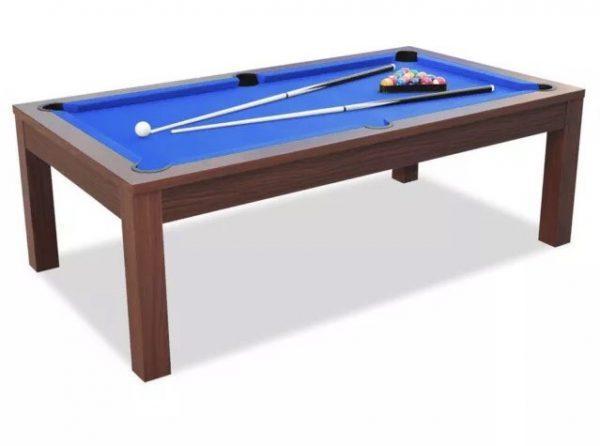Dining Pool Table Walnut Frame Blue Felt